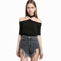 2017 Women T Shirt Off Shoulder Sexy Hollow Out Summer Punk Tumblr Clothing Cropped Feminino Black