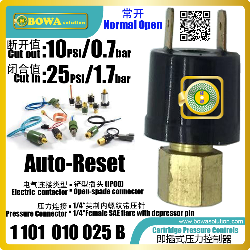 Auto reset cartridge pressure controls is great choice for blaster freezer to avoid overload replace ACB
