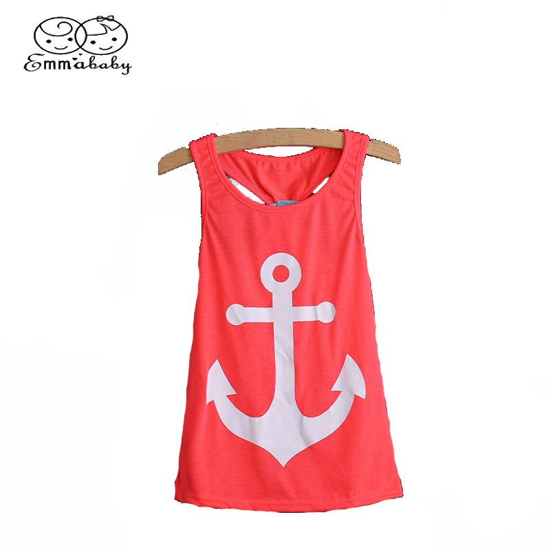Emmababy Family Clothes Mum Baby Kids Girls Anchor Print Vest Dress Blouse T-Shirt