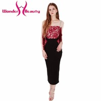 Wonder beauty Lace Black red patchwork women sexy casual work office dress long lace chiffon patchwork transparent sleeves dress