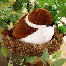 דרורים משפחה בפלאש צעצוע מעופף חום ציפור כמו בחיים עץ חיות ממולאים בובת עם קן ילדים מנחם מתנה