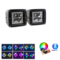 Nicoko 2 pcs 12 W LED Trabalho Light bar w/Chasing RGB AURÉOLA ANEL de mudança de cor de controle Bluetooth para Off Road Boat, caminhão,