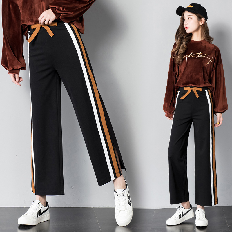 Women's Fashion Wide Leg Pants Women High Waisted Elastic Waist Loose Pants Striped Long Casual Trousers Wide Leg Pants