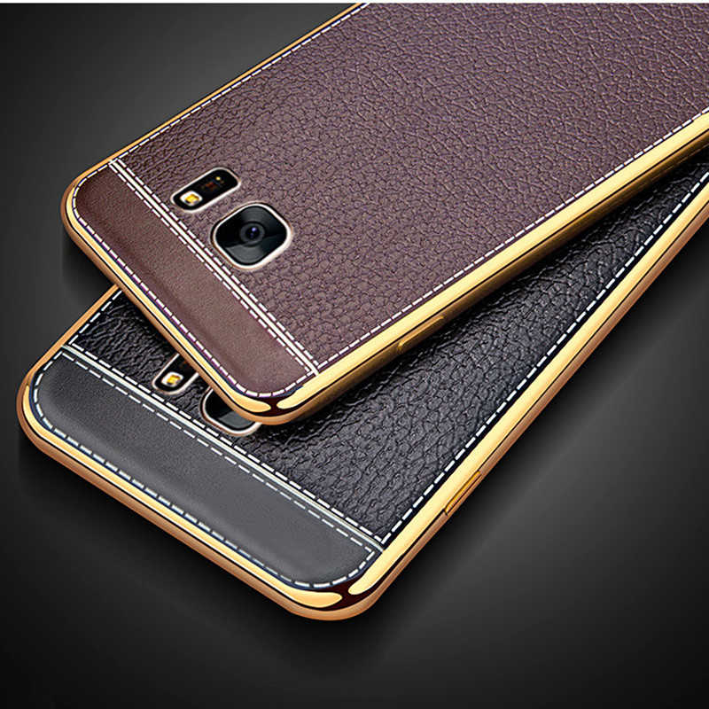 Leather Case For Samsung Galaxy S6 S7 edge S8 S9 Plus A3 A5 A7 2016 2017 J3 j5 j7 Note8 Grand Prime Plating Soft TPU Cover