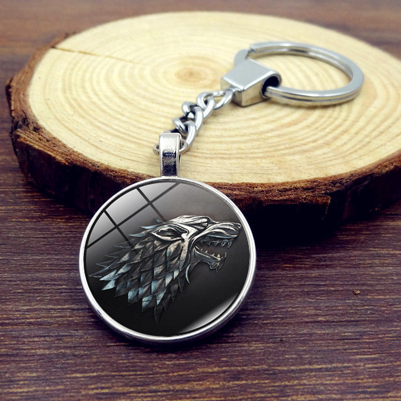 2017 New Game of Thrones Keychain Glass Round Dome Metal Key Chain Pendant Fashion Jewelry Silver Key Ring Chain Women Men цена 2017