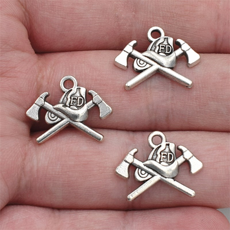 6pcs 19*16mm Antique Silver Plated Firefighting Helmet Axes Fire Dept Charms Pendants Fit Necklace Bracelet Diy Jewelry Making Discounts Price
