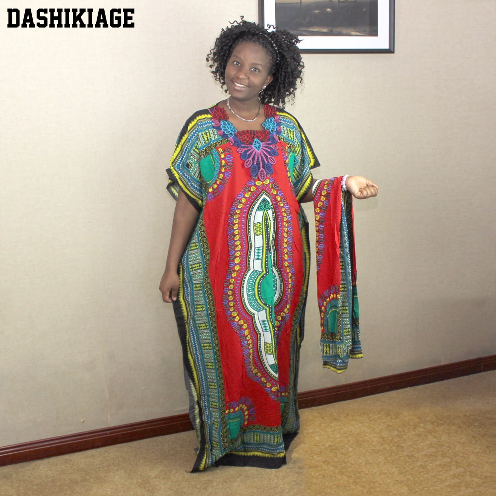 Dashikiage New Fashion Women Traditional African Print Dashiki Party Plus Size Long Dress