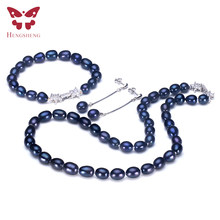 2019 Hotest Pearl Jewelry Sets For Women,Dangle Earrings&Bracelet&Necklace,925 Silver Bright Star Buckle,Fashion Design Jewelry(China)
