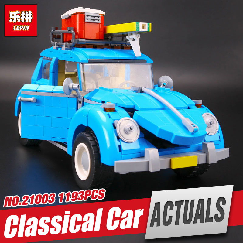 New LEPIN 21003 Series City Car Beetle model Educational Building Blocks Compatible 10252 Blue Technic children toy gift new lp2k series contactor lp2k06015 lp2k06015md lp2 k06015md 220v dc