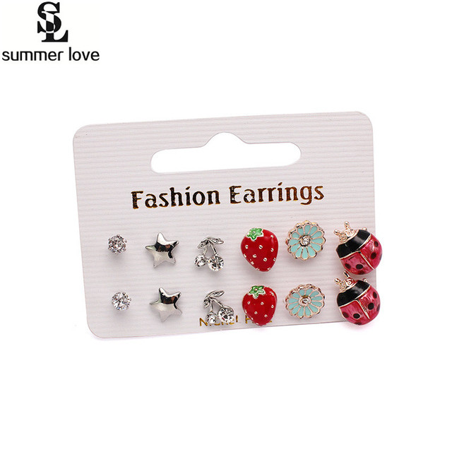Cute Korean Enamel Stud Crystal Earrings Set 6 Pairs Gold Ladybug S Kids Star Strawberry