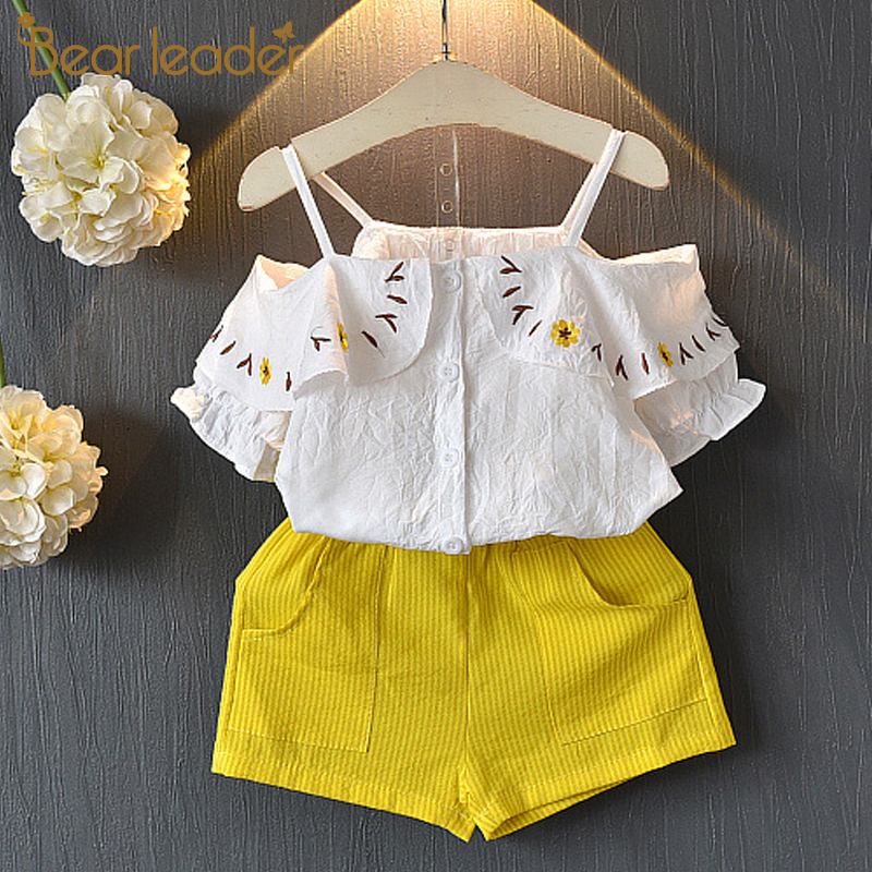 Bear Leader Children Set 2019 New Girl Clothing Suit Embroidery Off-the-shoulder Childrens Clothes Set Floral Top + Short 3-7YBear Leader Children Set 2019 New Girl Clothing Suit Embroidery Off-the-shoulder Childrens Clothes Set Floral Top + Short 3-7Y