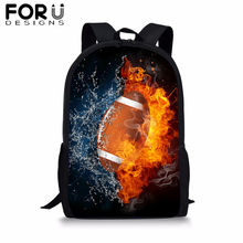 FORUDESIGNS American Football Print School Bag Backpack for Boys Kids Rucksack Baseball Bookbag Student Satchel Daypack Mochila