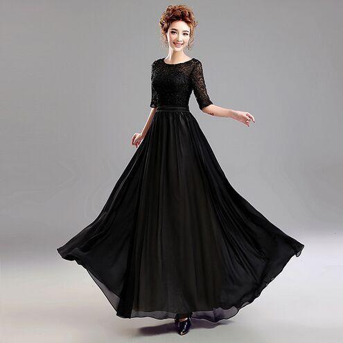 new arrival simple stylish fashionable black chiffon prom