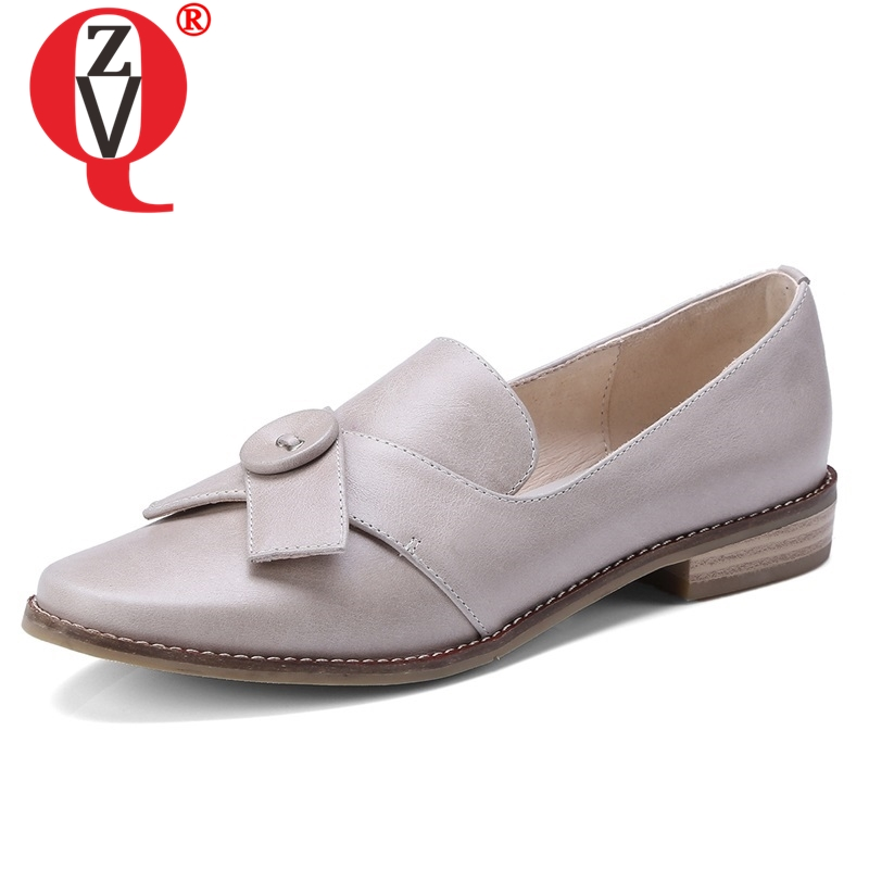 ZVQ shoes women 2019 spring new concise leisure handmade genuine leather women pumps round toe low square heel slip-on shoesZVQ shoes women 2019 spring new concise leisure handmade genuine leather women pumps round toe low square heel slip-on shoes