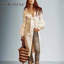 春セクシーなファッション服 TWOTWINSTYLE 弓ロングシャツ女性レースアップチュニックディープ ランタン袖白シャツ