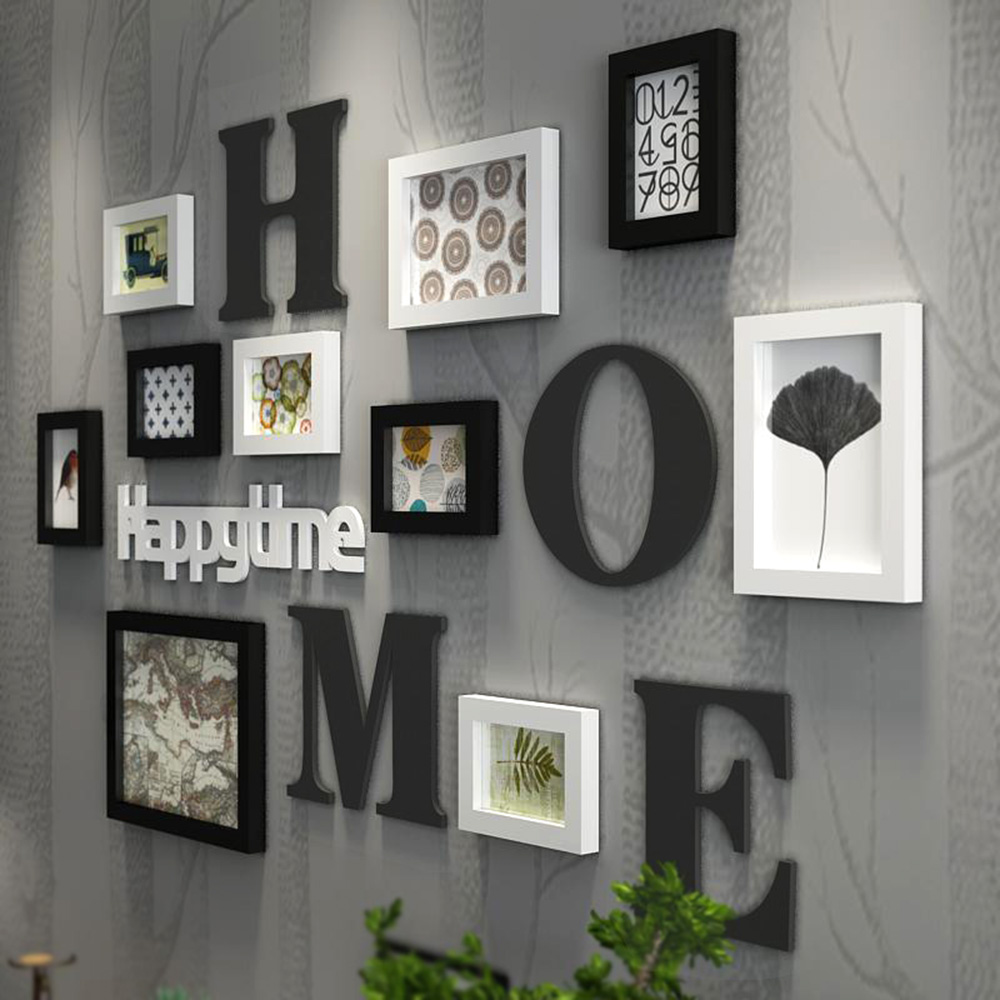 Solid Wood Large Picture Frames Modern Living Room Fashion Painting Photo Frame Set Wooden Letter Home Wall Decoration DIY