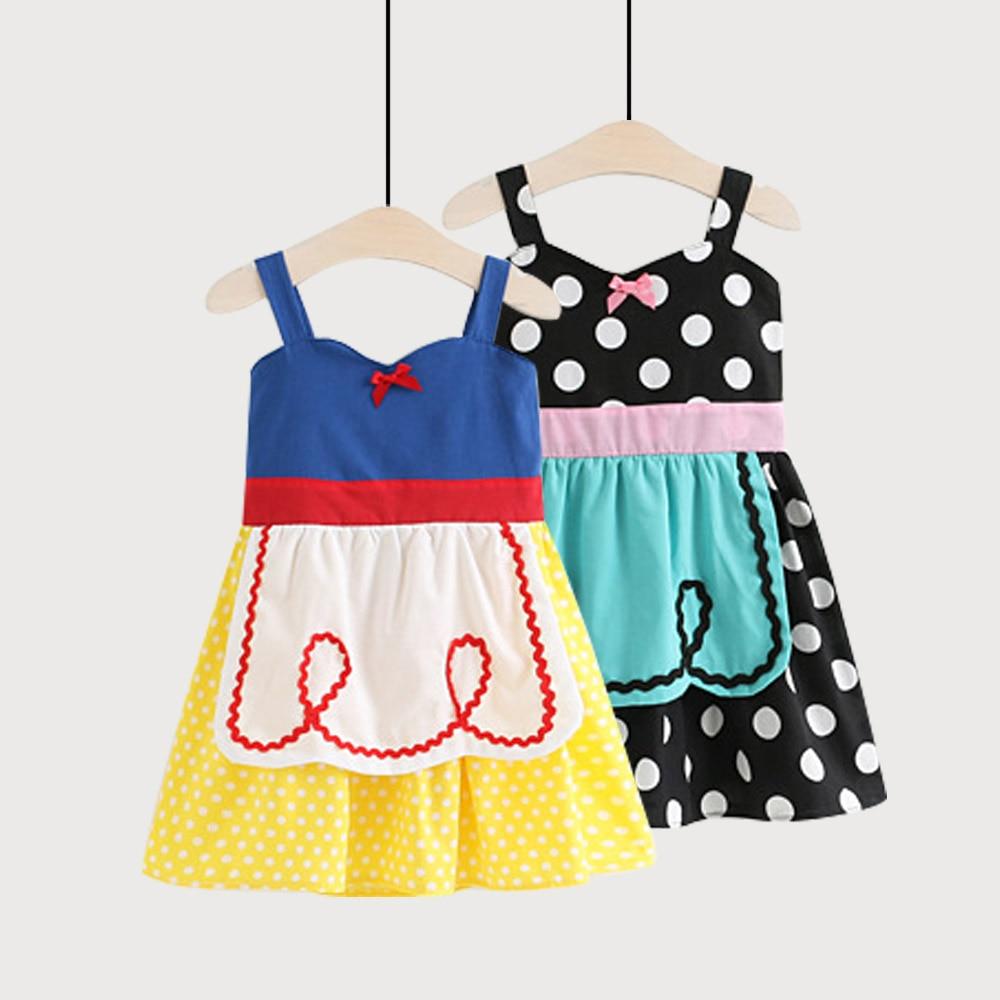 weLaken Cute Girl Princess Dress Summer Sleeveless Kids Dresses for 2-8Yrs Baby Girls Patchwork Dress Outwear with Bow cute rose print sleeveless princess dress for girl