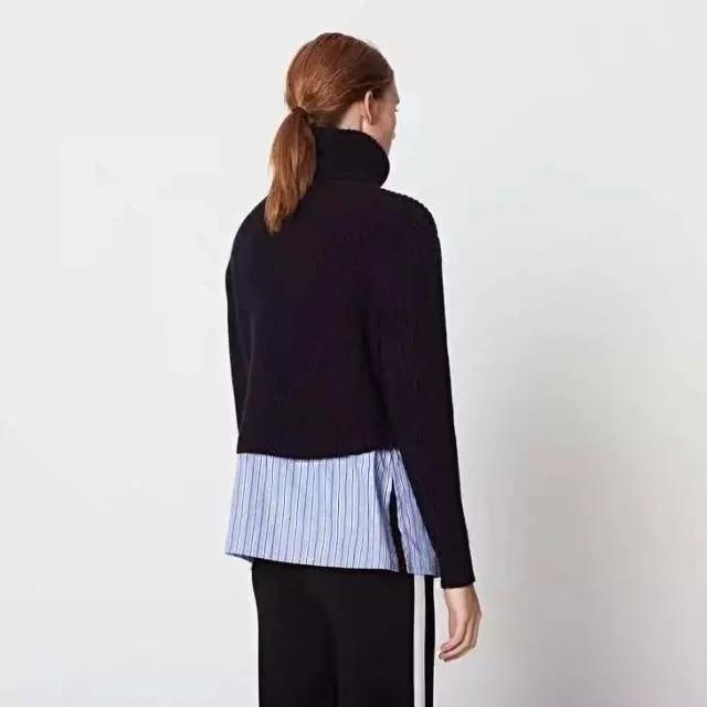 Lana Collo Striscia Maglione Con Camicia Di A 2019 Cucitura Alto La xZgXXq