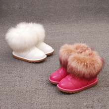 Children's shoes fall and winter 2017 children's snow boots large cotton thick imitation fox fur girl boots big child girl cotto