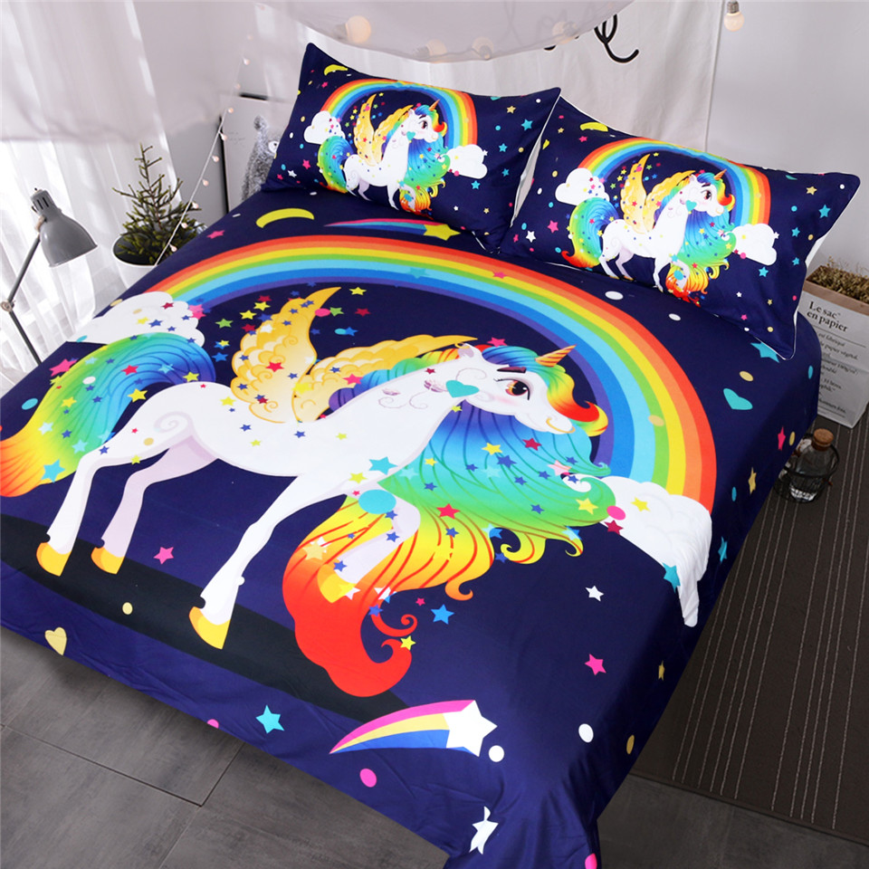 BlessLiving Unicorn Bedding Set Angel With Wings Duvet Cover Colorful Rainbow Bedspreads Cartoon for Kids Stars 3pcs BedclothesBlessLiving Unicorn Bedding Set Angel With Wings Duvet Cover Colorful Rainbow Bedspreads Cartoon for Kids Stars 3pcs Bedclothes