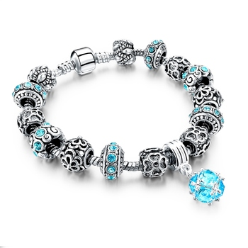 Women's Tibetan Silver Charm Bracelet Bracelets Jewelry Women Jewelry Metal Color: 268 blue