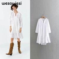 2019 dress women vestidos England style a line long sleeve hollow out knee length v neck vestidos de fiesta party dress