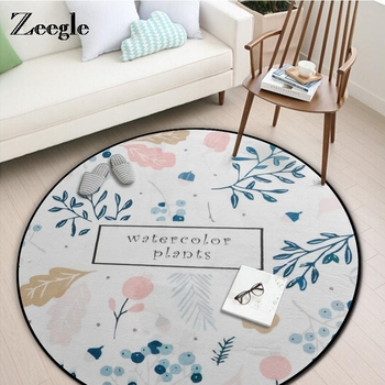 Watercolor Plants Round Carpets For Living Room Anti-slip Baby Crawling Blanket Kids Bedroom Carpets Computer Chair Floor Mats