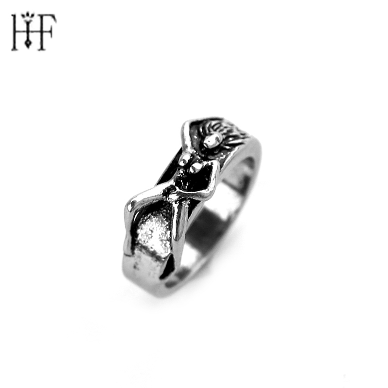 Nieuw Arrive Metal antiek zilver Ring Unique Naked Woman Ring Sieraden Maxi Punk Special Cool Man's Trendy Steampunk Ringen