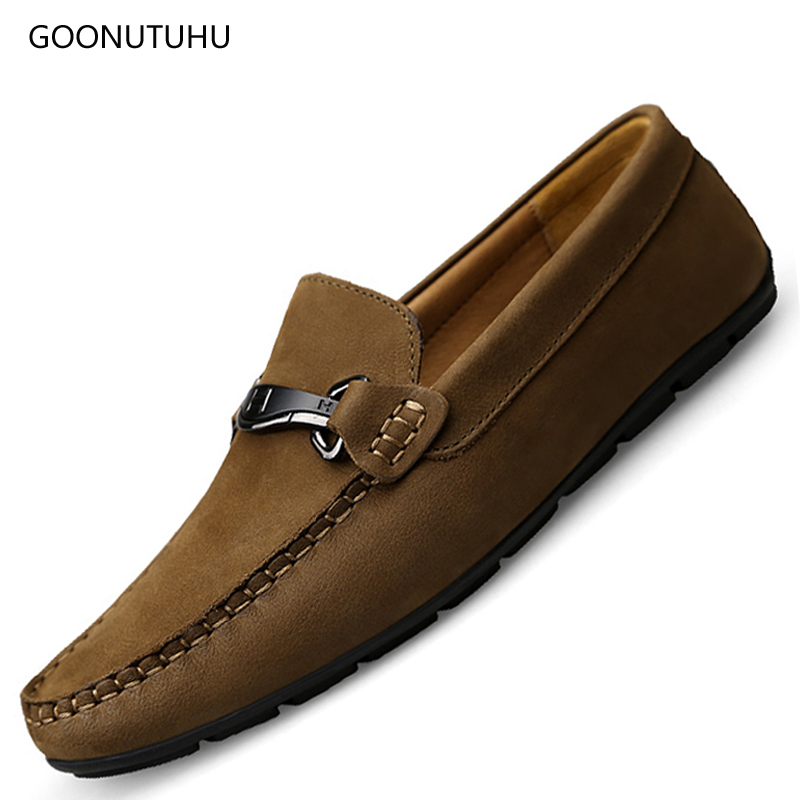 2019 Spring Men's Shoes Casual Loafers Slip-on Breathable Man Genuine Leather Shoes For Men Fashion Driving Big Size Shoe 37-46