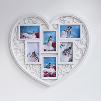 Hot Selling Newest Factory Direct Sales One Heart 6 Inch Photo Frame Creative Crafts Carved Decorated Photo Wall Plastic Frames