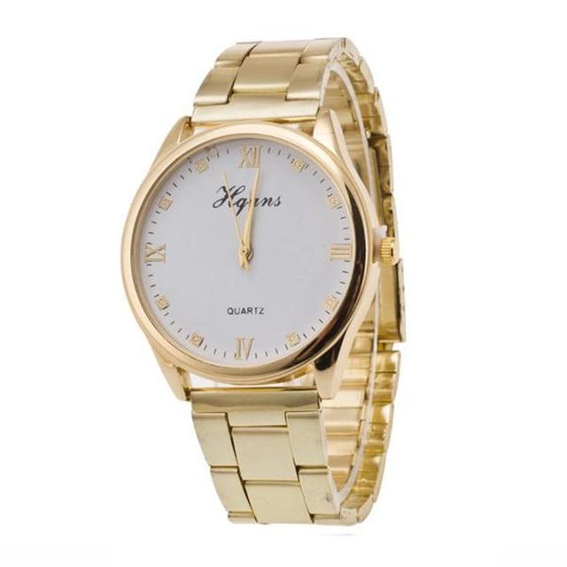 New Fashion Ladies Elegant Bracelet Watch Luxury Gold Stainless Steel Quartz Wat