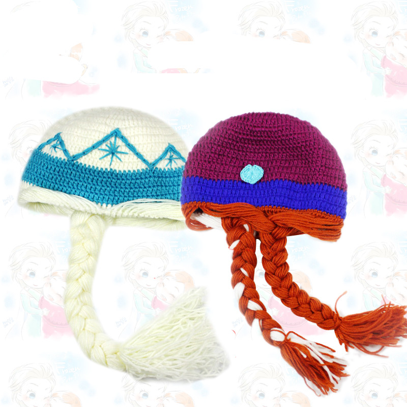 Amiable Princess Elsa Anns Cosplay Warm Soft Knitting Hat For Children