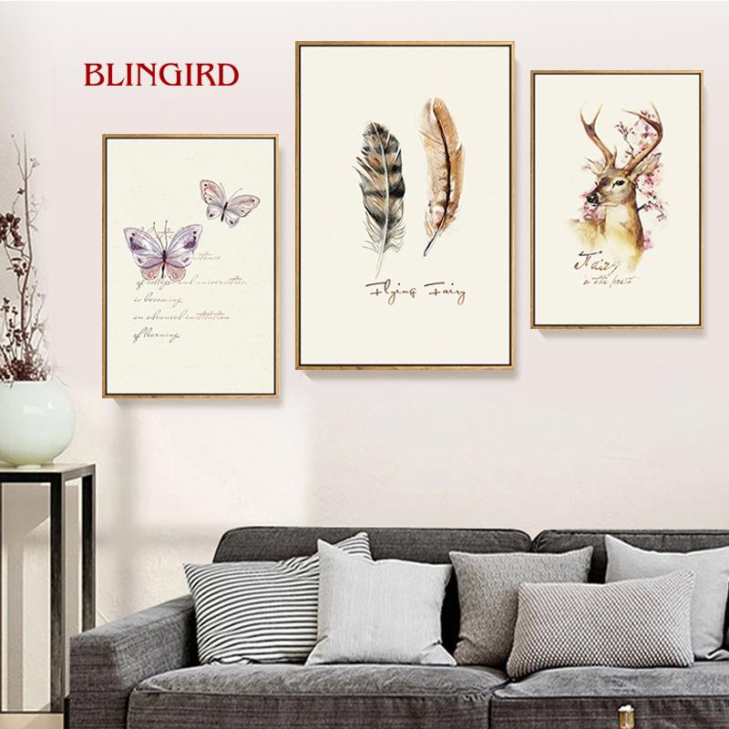 decoracin de saln de estilo simple animal elk y pintura del arte del color plumas dormitorio pintura de la pared interior