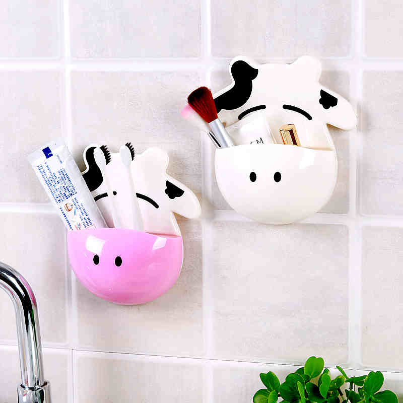 arrival:  1pc arrival Bathroom toothbrush Hanger Storage Box bathroom products Cartoon cow Kitchen Sundries Holder - Martin's & Co