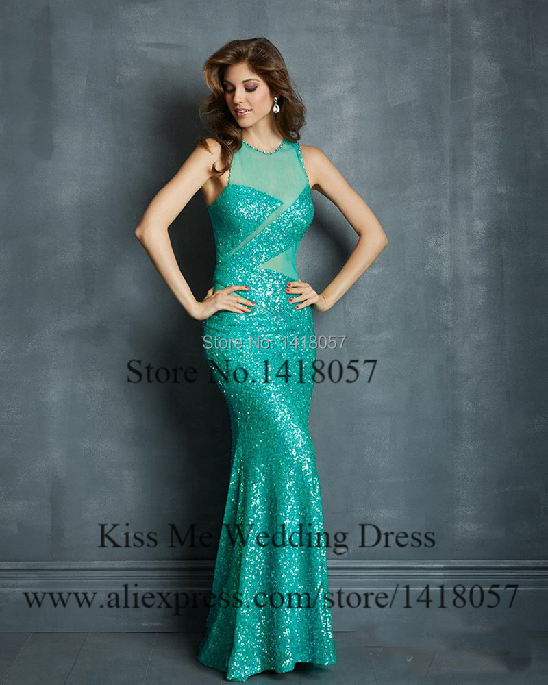 2015 Sexy Sequined Long Formal Evening Dresses Mermaid Black Green ...