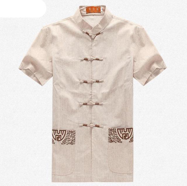Bege Camisa Dos Homens do Algodão Do Vintage Bordado Chinês Kung Fu Shirt Tops Wu Shu Roupas de Manga curta M L XL XXL XXXL MS058