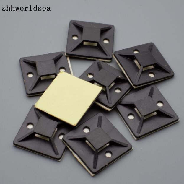 shhworldsea 500pcs 30 x 30 mm black Square Self Adhesive Cable Tie Mount Base