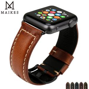 Image 5 - MAIKES Vintage Oil Wax Leather Watch Strap Watchband For Apple Watch Band 44mm 40mm 42mm 38mm Series 6/5/4/3/2/1 iWatch Bracelet