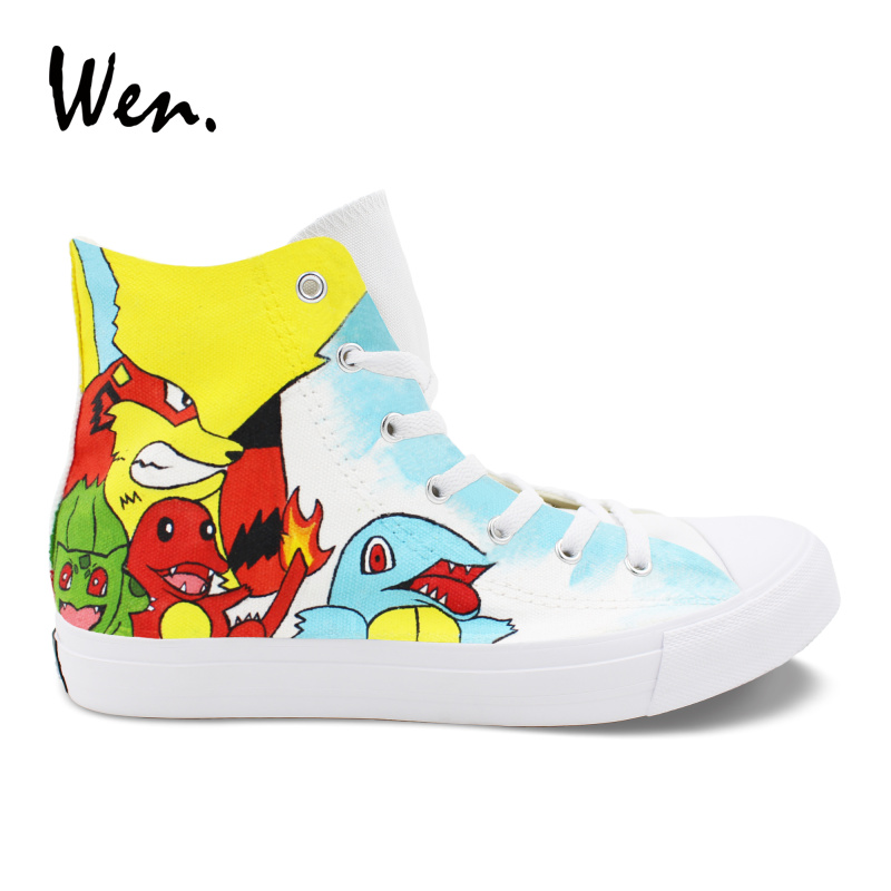Wen Casual Flat Sneakers Pokemon Shoes Design Anime Characters Hand Painted Canvas Shoes Men White High Help Plimsolls Women цена