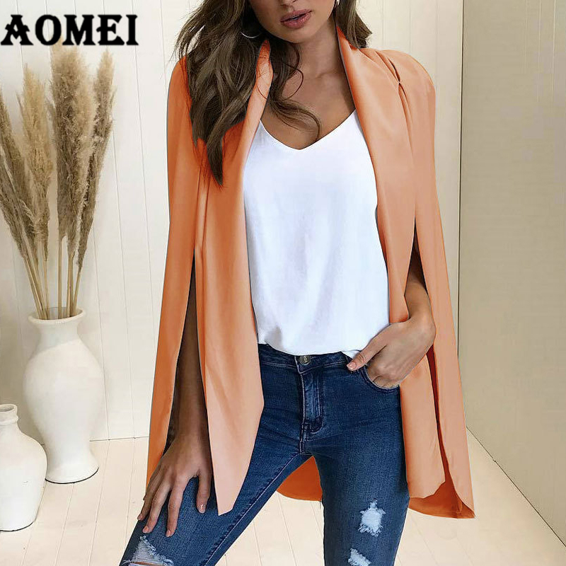 2019 Autumn Women Blazer Casual Fashion Suit Solid Coat Wear to Work Office Ladies Clothing Fall New Style Cloak Design Blasers jeans con blazer mujer