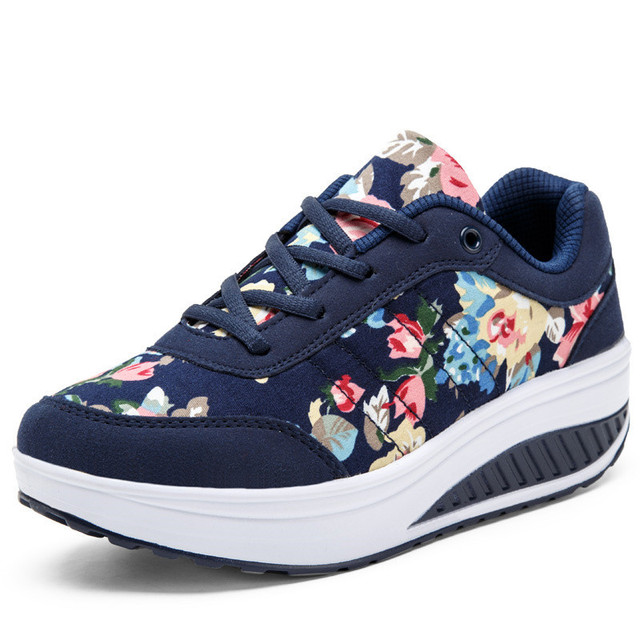 High Quality Stripe Floral Platform Shoes Woman 2016 Breathable Wedges Heel Casual Shoes Women Trainers Thick Sole
