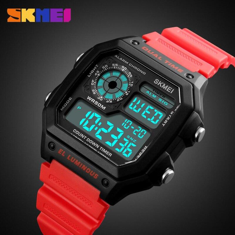 SKMEI Montre de Sport Hommes Top Marque De Luxe Célèbre LED Numérique Montres Mâle Horloges Hommes de Montre Relojes Deportivos Herren Uhren