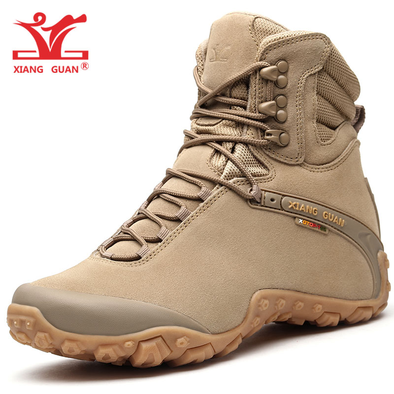 Women Hiking Shoes Men Cow Leather High Top Trekking Boots Sand Waterproof Sport Climbing Mountain Shoe