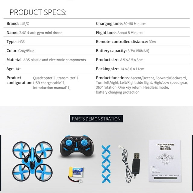 Mini Quadcopter 6-axis Rc Helicopter Blade Inductrix Quadrocopter Flying Drone Drons Toys JJRC H36 Best Toy Gifts