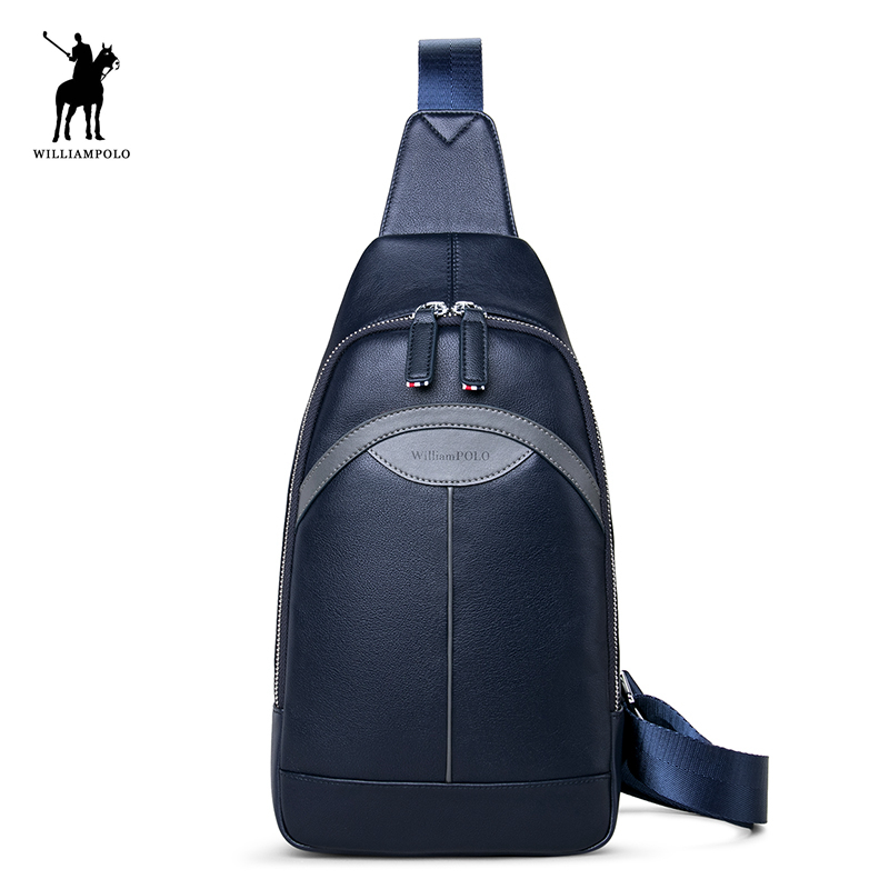 WILLIAMPOLO 2017 Famous Brand Theftproof Leather Mens Chest Bags Fashion Travel Crossbody Bag Man Messenger Bag POLO021D