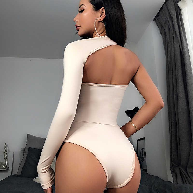 Algodón cuello Halter manga larga mono sólido 2019 verano primavera mujeres moda fiesta Navidad bodycon Delgado sexy cuerpo sin espalda