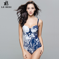 LE BESI 2015 New Blue Sexy One Piece Swimsuit Women Monokini Plus Size XL 8XL Bodysuit