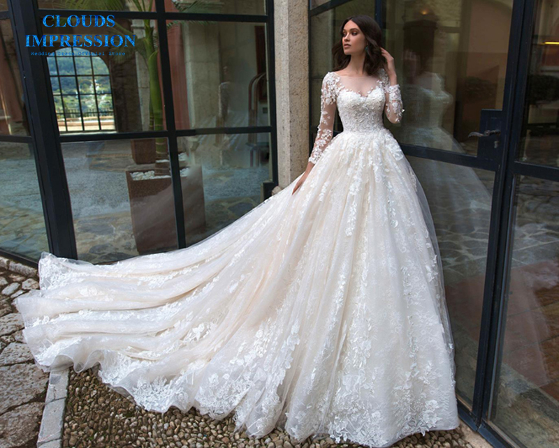 Custom Made Ball Gown Cap Sleeve Fluffy Tulle Lace Beading Luxury Plus Size Bridal Wedding Dresses