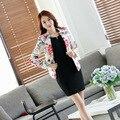 Novo 2017 Mulheres blazer e Jaqueta Estilo Coreano Floral Impressão senhoras Terno Feminino Blaser Negócio Outerwear casaco básico