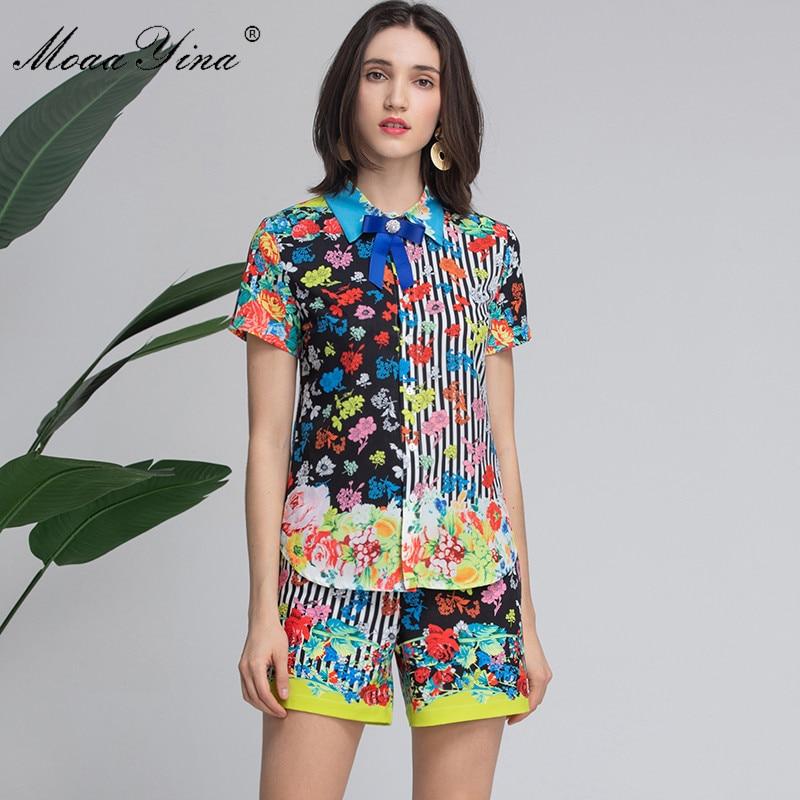 MoaaYina Fashion Designer Set Summer Women's Short sleeve Stripe 꽃 Print 우아한 Shirt 탑 + Shorts 두 종 한 벌-에서여성 세트부터 여성 의류 의  그룹 1